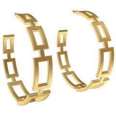 18 Karat Yellow Gold Seven Rectangle Hoops