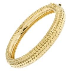 "18 Karat Yellow Gold ""Shagrin"" Bangle Bracelet by Gemlok"