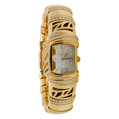 18 Karat Yellow Gold Shanta Mother of Pearl and Diamond Watch