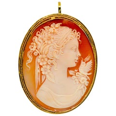 18 Karat Yellow Gold Shell Cameo Pendant or Brooch