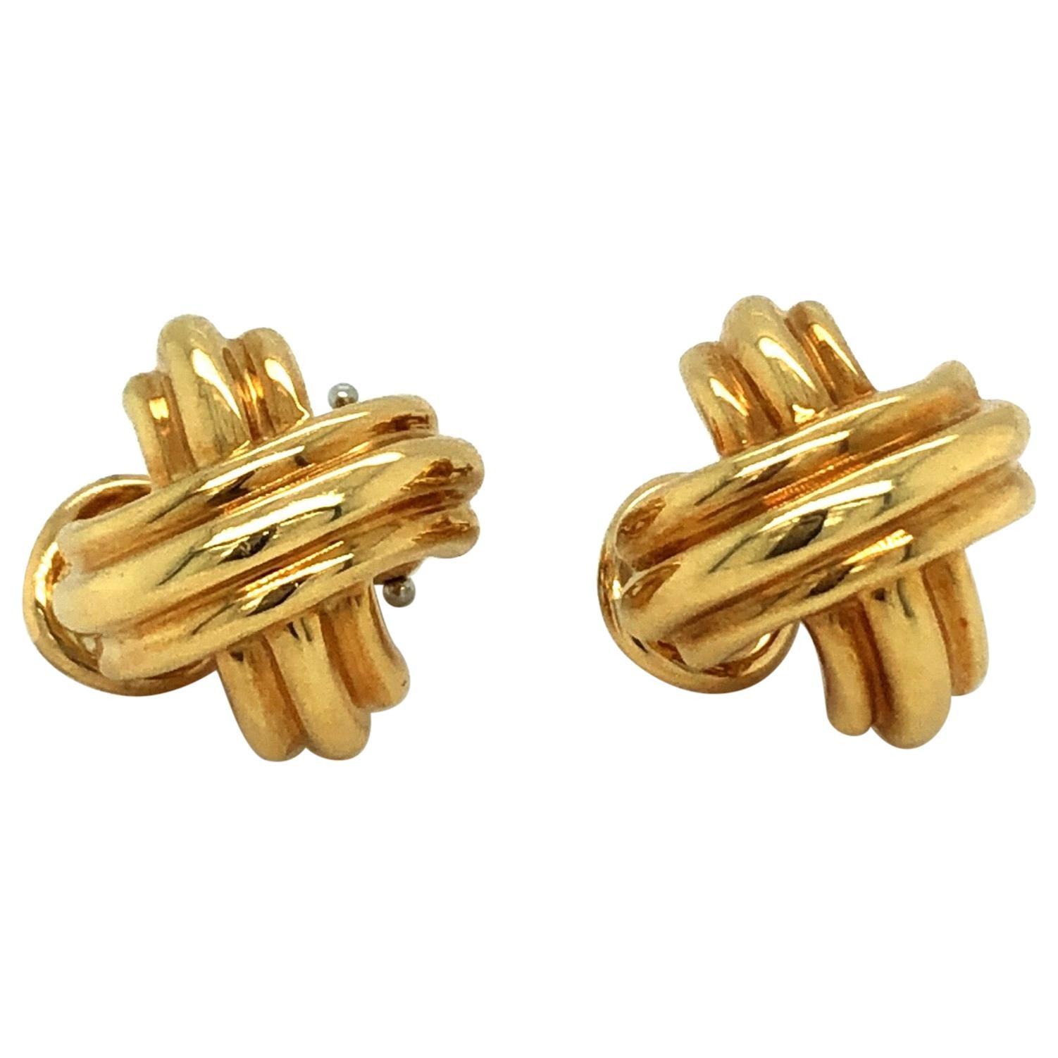 18 Karat Yellow Gold Signature X Collection Ear Clips by Tiffany & Co.
