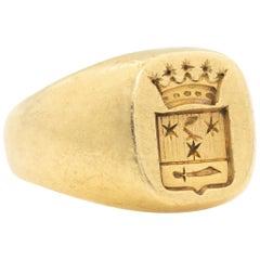 18 Karat Yellow Gold Signed WA BOLIN Signet Ring