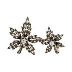 18 Karat Yellow Gold & Silver Antique Leaf Old Mine Cut Diamond Earrings