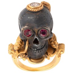 18 Karat Yellow Gold Silver Blackened Ruby and Diamond Skull Ring by Codognato