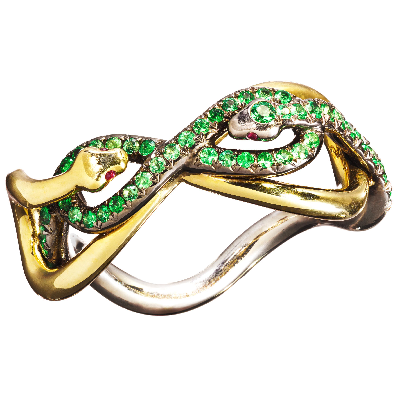 18 Karat Yellow Gold Silver Emeralds Rubies Ring Aenea