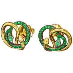 18 Karat Yellow Gold Silver Emeralds Rubies Stud Earrings Aenea