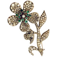 "18 Karat Yellow Gold-Silver Flower ""Vibrate"" Brooch, London, Amsterdam, 1865"