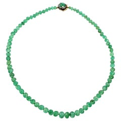 18 Karat Yellow Gold Silver Old Mine Emeralds Beads Necklace