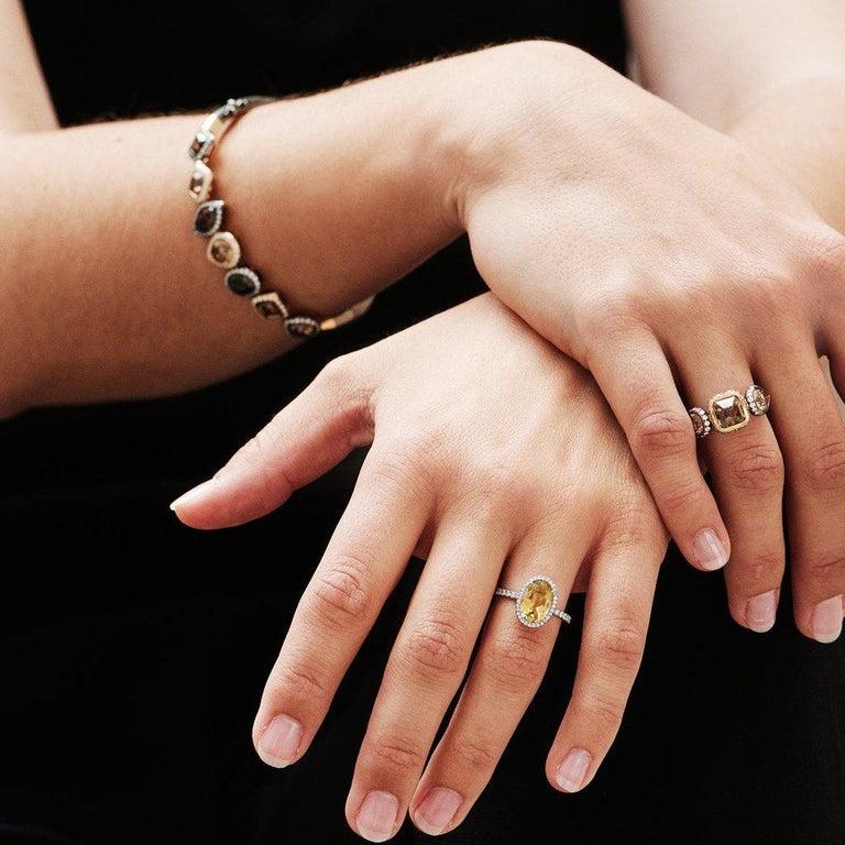Women's or Men's 18 Karat Yellow Gold Silver Rhodium Champagne White Diamonds Earrings For Sale