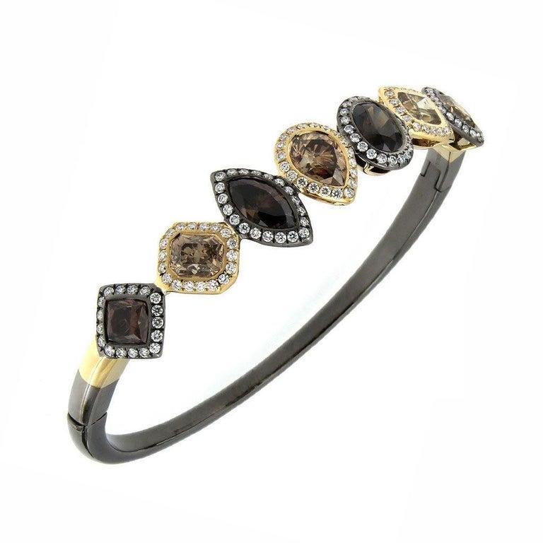 18 Karat Yellow Gold Silver Rhodium Champagne White Diamonds Earrings For Sale 2