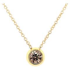 18 Karat Yellow Gold Single Brown Diamond Garavelli Giotto Necklace