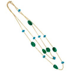 18 Karat Yellow Gold Sleeping Beauty Turquoise and Emerald Necklace by Goshwara