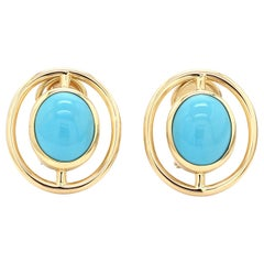 18 Karat Yellow Gold Sleeping Beauty Turquoise Earring