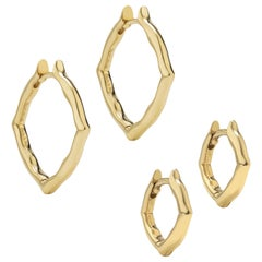 18 Karat Yellow Gold Small and Mini Hoop Earrings