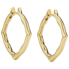 18 Karat Yellow Gold Small Hoop Earrings