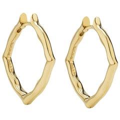 18 Karat Yellow Gold Small Hoop Earrings