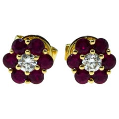 18 Karat Yellow Gold Small Set Ruby and Diamond Flower Mini Earstuds