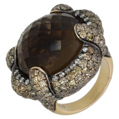 18 Karat Yellow Gold Smokey Quartz and Brown Diamonds Venice Ring by Niquesa