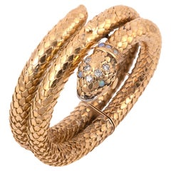 18 Karat Yellow Gold Snake Bracelet Covered Dial Watch