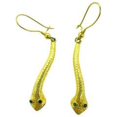 18 Karat Yellow Gold Snake Earring