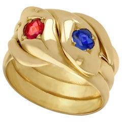 18 Karat Yellow Gold Snake Ring, Vintage 1945