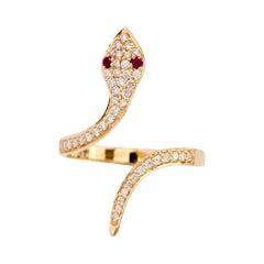 18 Karat Yellow Gold Snake Serpent Diamond and Ruby Ring
