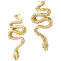 18 Karat Yellow Gold Snake Stud Earrings
