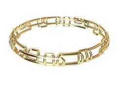 18 Karat Yellow Gold Soft Rectangle Bangle Bracelet