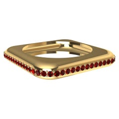 18 Karat Yellow Gold Soft Square Unisex Sculpture Ring with Rubies