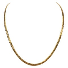 18 Karat Yellow Gold Solid Curb Link Chain Necklace