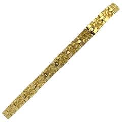 18 Karat Yellow Gold Solid Nugget Design Link Bracelet