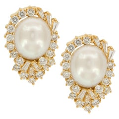 18 Karat Yellow Gold South Sea Pearl and Diamond Cocktail Earrings