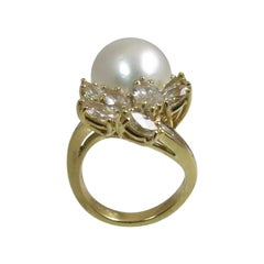 18 Karat Yellow Gold South Sea Pearl and Diamond Ring