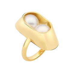 18 Karat Yellow Gold, South Sea Pearl Cocoon Large Ring