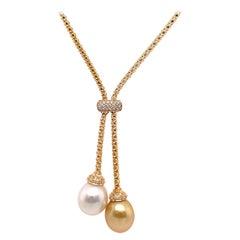 18 Karat Yellow Gold South Sea Pearl Diamond Tassel Necklace 0.27 Carats