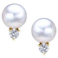 18 Karat Yellow Gold South Sea Pearl Earrings with Diamonds .72 Carat