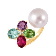 18 Karat Yellow Gold South Sea Pearl Sapphire Tourmaline Aquamarine Diamond Ring
