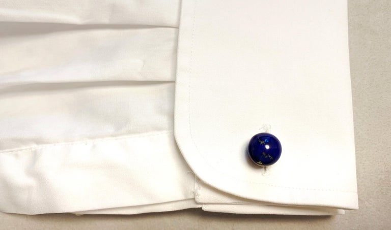 18 Karat Yellow Gold Sphere Cufflinks in Lapis Lazuli For Sale 2