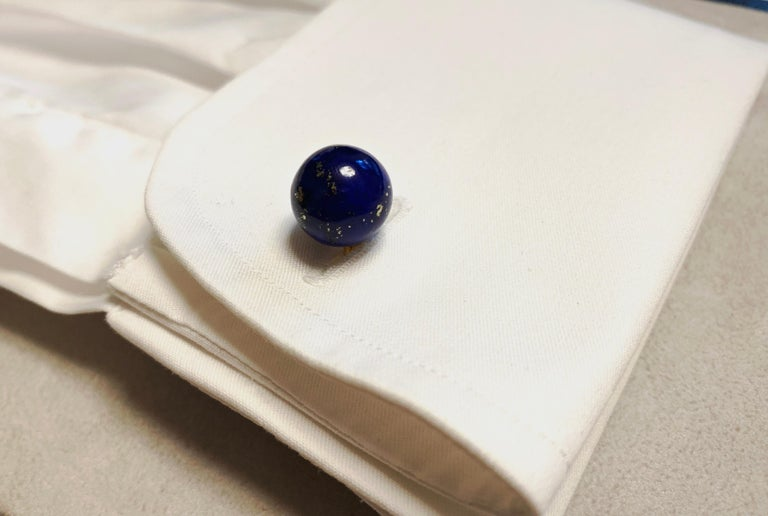 18 Karat Yellow Gold Sphere Cufflinks in Lapis Lazuli For Sale 3