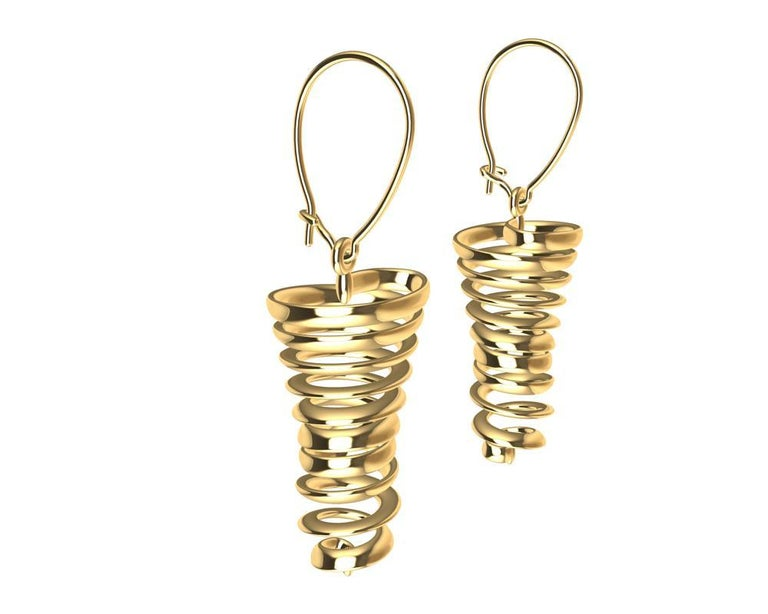 18 Karat Yellow Gold Spiral Dangle Earrings, Tiffany Designer, Thomas Kurilla is sculpting for the ears. It may seem like life is spinning out of control, but no not really. Let these spirals appear to spin on your ears.  They make no noise, they