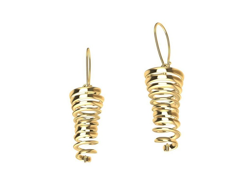 18 Karat Yellow Gold Spiral Dangle Earrings In New Condition For Sale In New York, NY