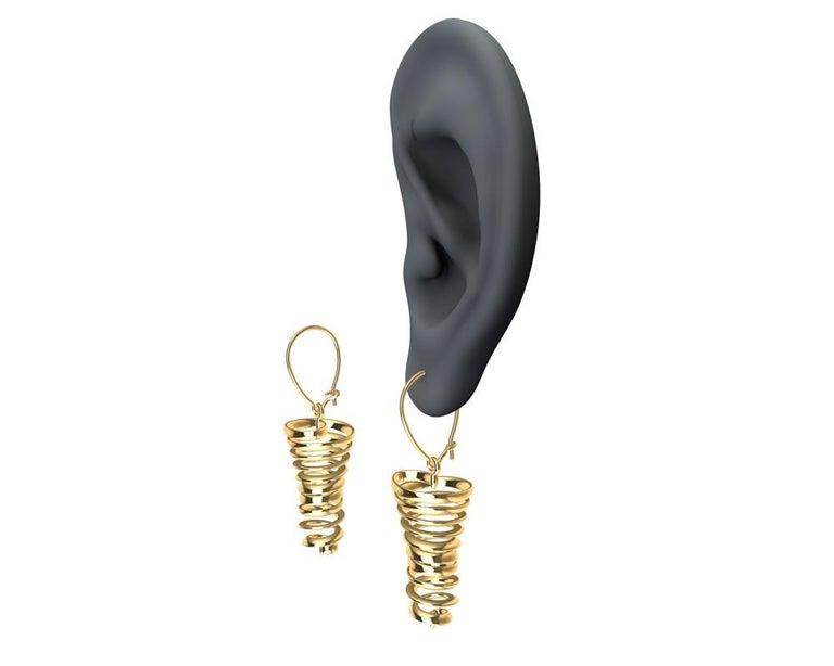 18 Karat Yellow Gold Spiral Dangle Earrings For Sale 1