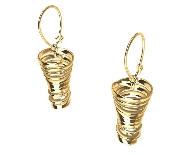 18 Karat Yellow Gold Spiral Dangle Earrings For Sale 2