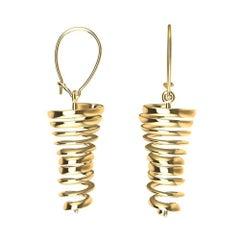 18 Karat Yellow Gold Spiral Dangle Earrings