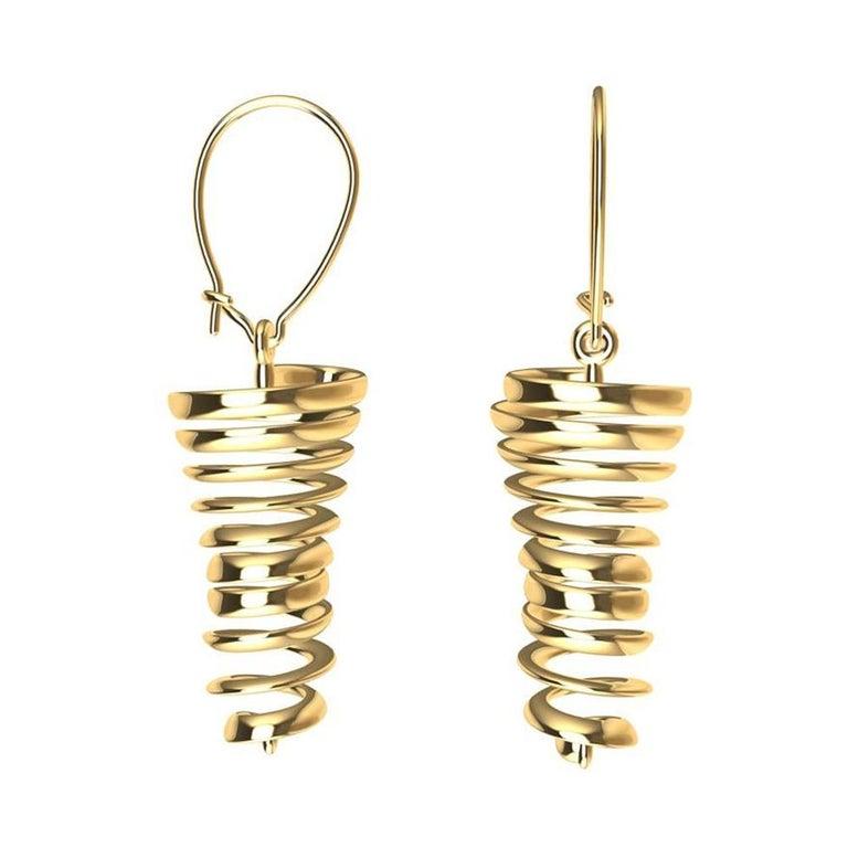 18 Karat Yellow Gold Spiral Dangle Earrings For Sale