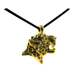 18 Karat Yellow Gold Spotted Leopard on Flat Suede Cord