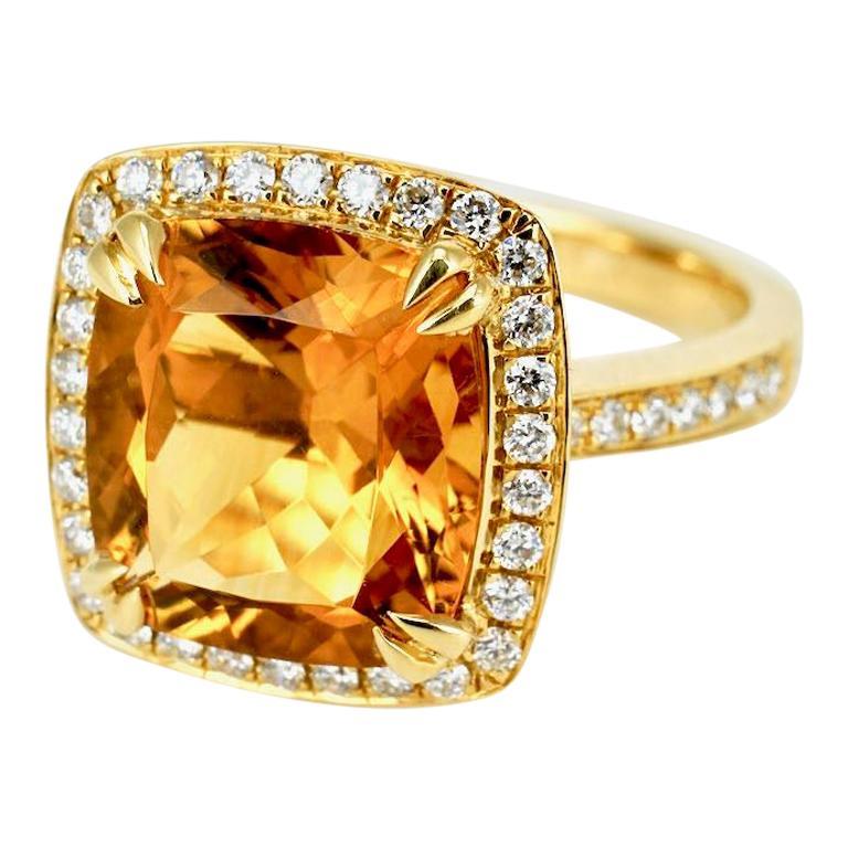 18 Karat Yellow Gold Square Citrine Diamond Ring