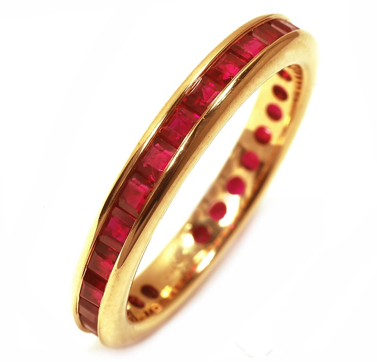Eighteen karat yellow gold eternity wedding, anniversay or stacking band  Square/Princess cut shape Burma ruby weighing 2.45 carat  Made to order in special size Two weeks delivery New ring  Available in all finger sizes, half sizes and quarter