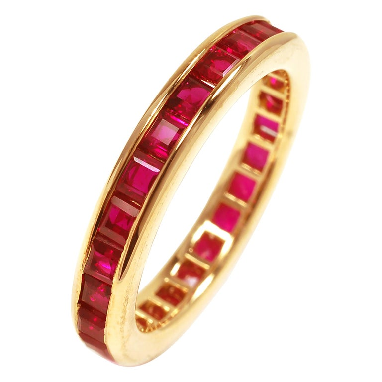18 Karat Yellow Gold Square Princess Cut Ruby Eternity Band For Sale