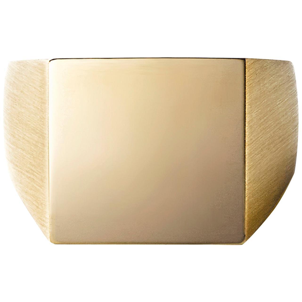 18 Karat Yellow Gold Square Signet Ring Small #3~#12